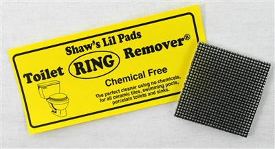 Shaws pad toilet ring remover label and product